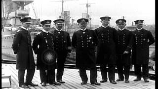 German Navy officers, including Admirals Hipper and Scheer, pose in Wilhelmshaven...HD Stock Footage