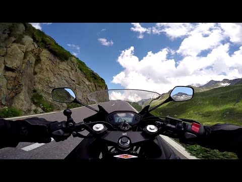 Rushing up the Great St Bernard Pass RAW ONBOARD Honda cbr500r Motorcycle