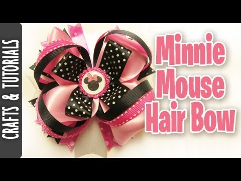 Minnie Mouse Hair Bow Tutorial in Pink - YouTube