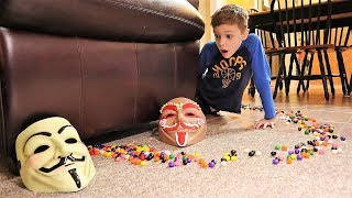 1 Million Jelly Bean Rainbow Road!  What Is Under the Sofa?