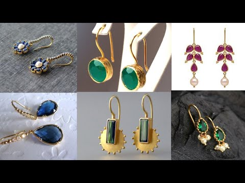 Daily wear gold danglers design/light weight gold jewellery for office wear/stylish jewellery ideas
