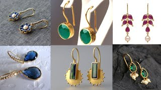 Daily wear gold danglers design/light weight gold jewellery for office wear/stylish jewellery ideas
