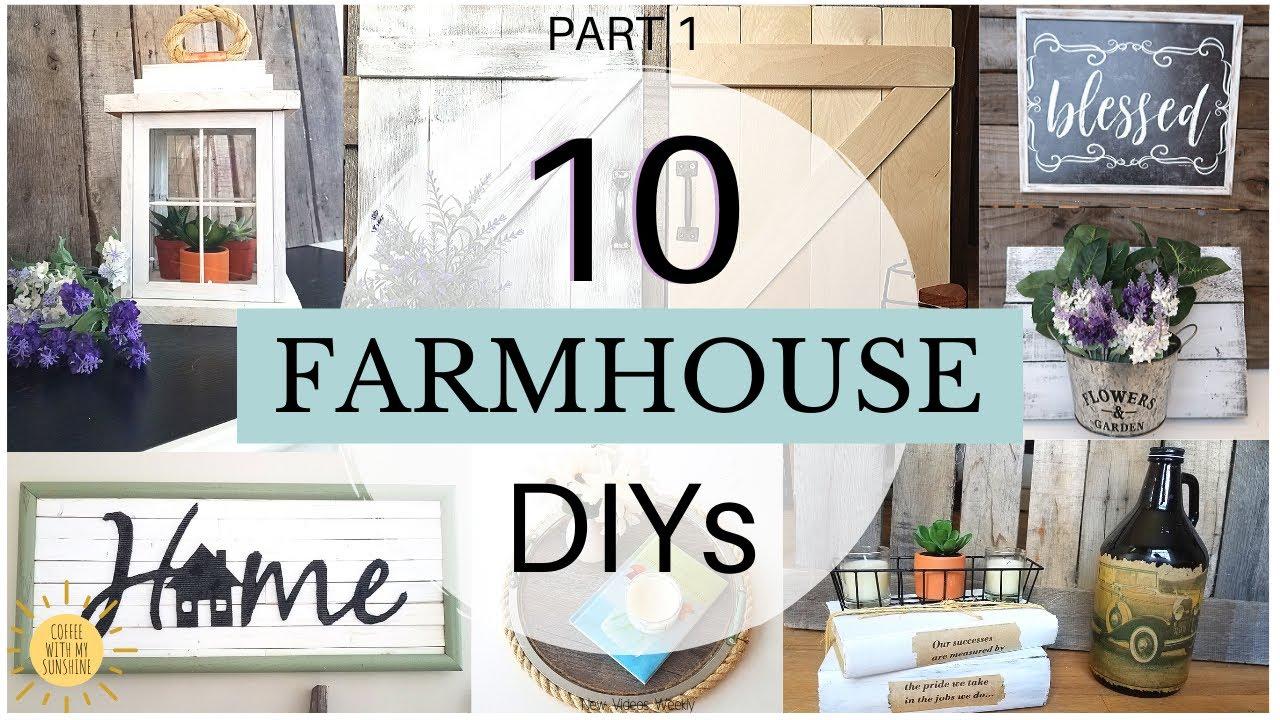 Diy Farmhouse Decor 10 Easy Budget Friendly Dollar Tree Farmhouse Home Decor Craft Ideas 2020 Youtube
