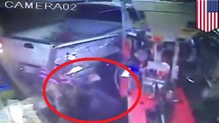 Gas station robbery fail caught on video: idiot robbers' truck stalls after plowing through door
