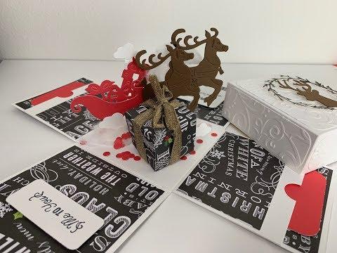 DIY Christmas Explosion Box |  3D Reindeer Christmas Explosion Box | Handmade