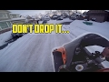Almost dropped my motorcycle in the snow!