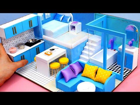 DIY Miniature Cardboard House #25 bathroom, kitchen, bedroom, living room for a family