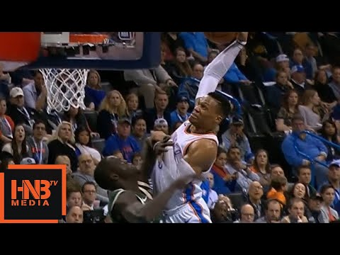 Russell Westbrook ages Thon Maker 10 years with a poster dunk