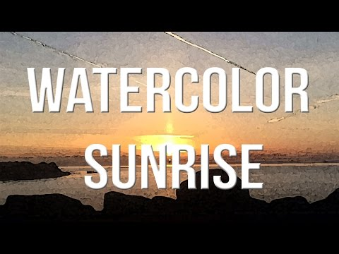 How to paint watercolor sunrise sky and sea for BEGINNERS - Alpha Art
