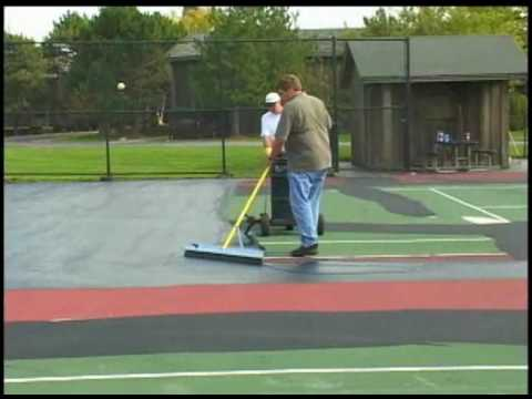 Sportmaster tennis court resurfacing mixing and for Sport court paint