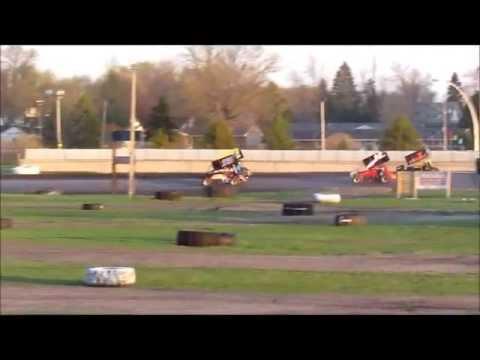 5-11-13 sprint car roll over at Arlington Raceway MN
