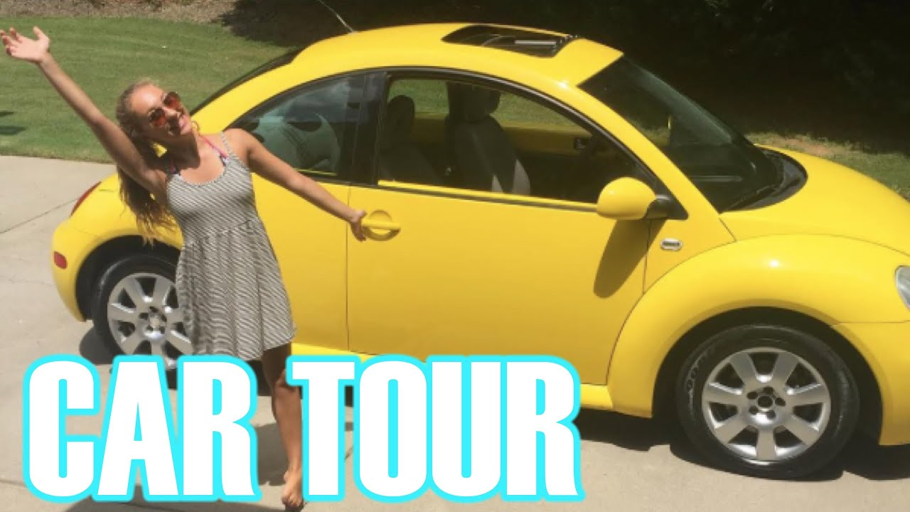 What's in My Car?! || YELLOW VW BEETLE CAR TOUR! - YouTube
