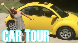 What's in My Car?! || YELLOW VW BEETLE CAR TOUR!