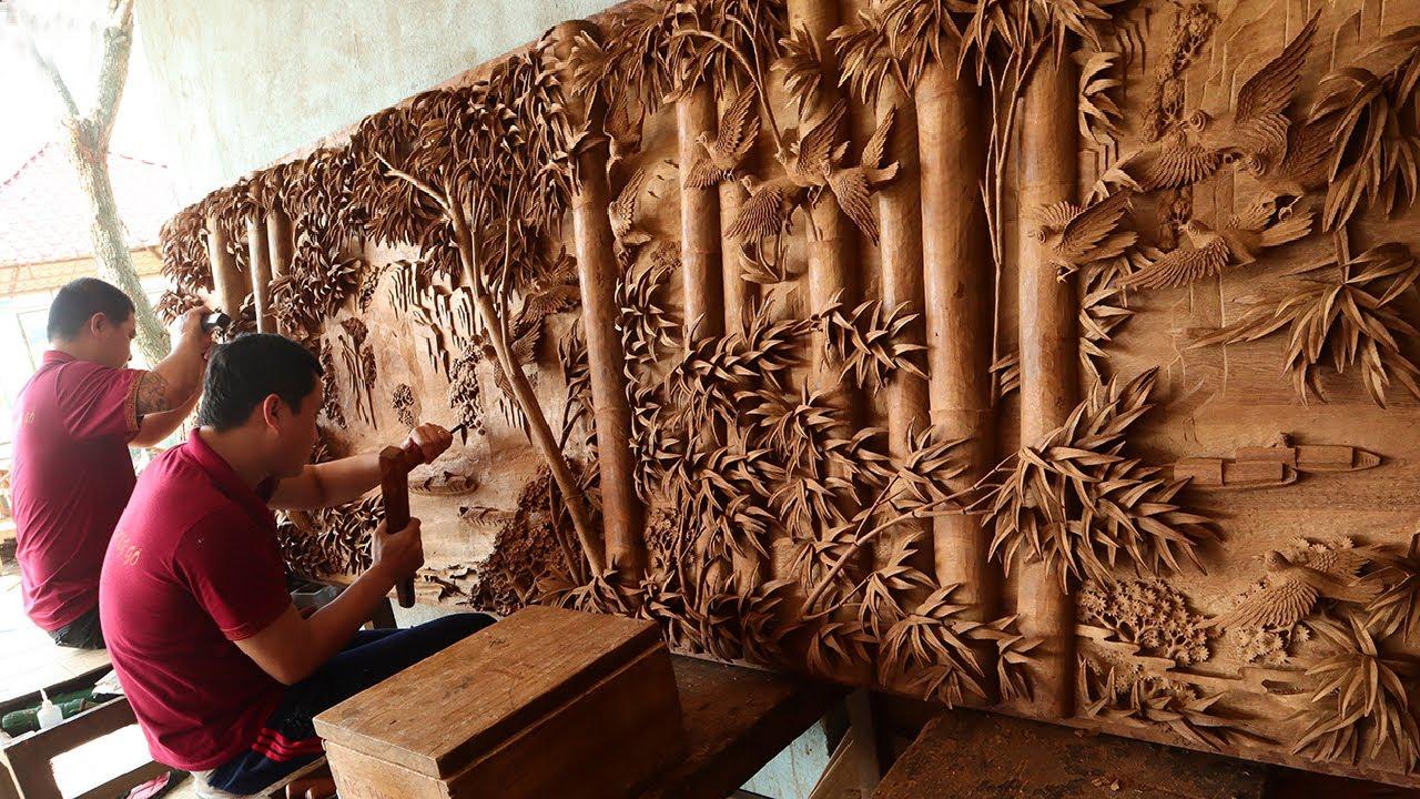 Đục bức Tranh Gỗ Khổng Lồ dài 3m Gỗ Hương - Nghệ nhân Âu Lạc 6