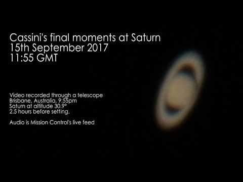 Cassini's last moments at Saturn 15th September 2017