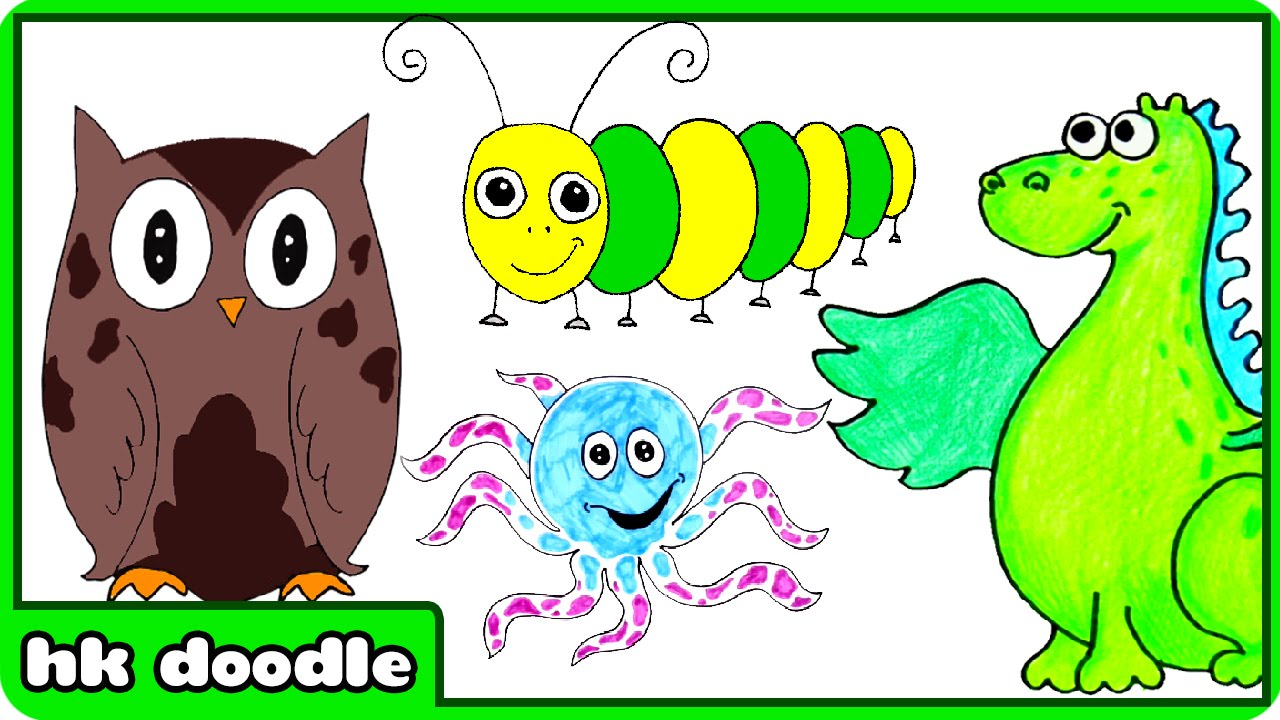 easy animal drawings for kids step by step drawing tutorials for beginners by hooplakidz doodle youtube