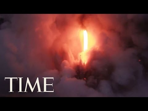 Lava Flows From Volcano Into Ocean In Hawaii | TIME