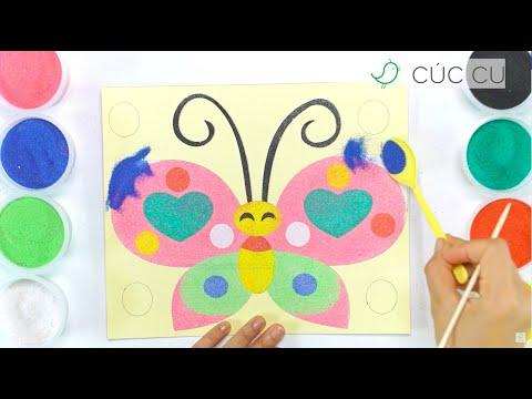 Tô màu tranh cát con BƯƠM BƯỚM - Colored Sand Painting a butterfly | CÚCCU