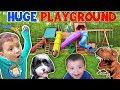 Giant Playground Surprise from DINOSAUR! 😱 5 Slides!! (FUNnel Vision Vlog)