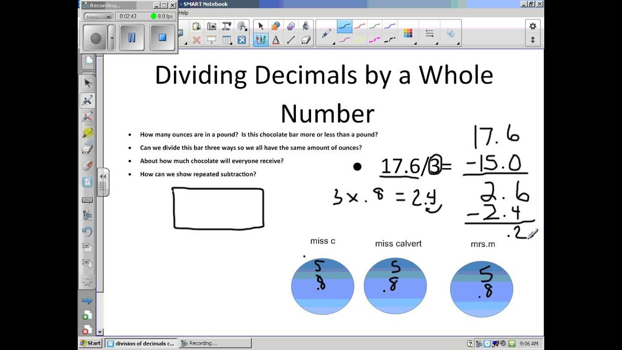 Worksheet How To Divide Whole Numbers Into Decimals grade 5 dividing decimals with a whole number youtube number