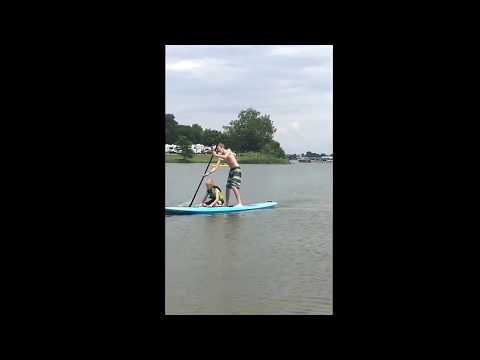 Lake Brandt 6-2017 - Peyton and Dylan on the paddle board