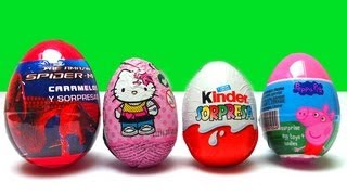 4 surprise eggs peppa pig spiderman hello kitty kinder surprise eggs unboxing toy chocolate