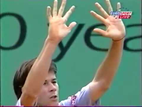 Thumbnail: Guillermo Coria racquet throwing incident during the 2003 Roland Garros semi-final