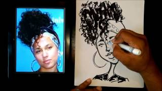 How To Draw A Quick Caricature Alicia Keys