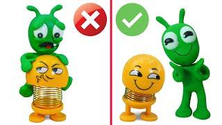 PEA PEA Meets Shaking Head Emoji - Stop Motion Funny Cartoons