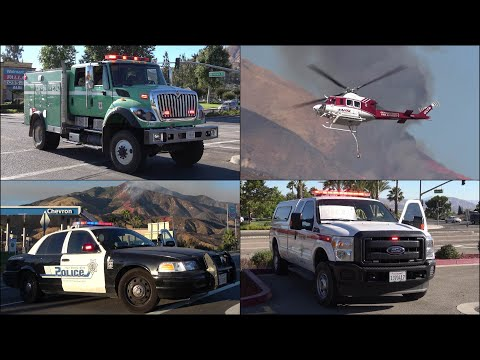 Huge wildfire threatens city - fire trucks, firefighters & aircraft in action