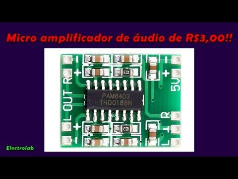Micro amplificador de áudio PAM8403 de 3W e R$3,00!!!!
