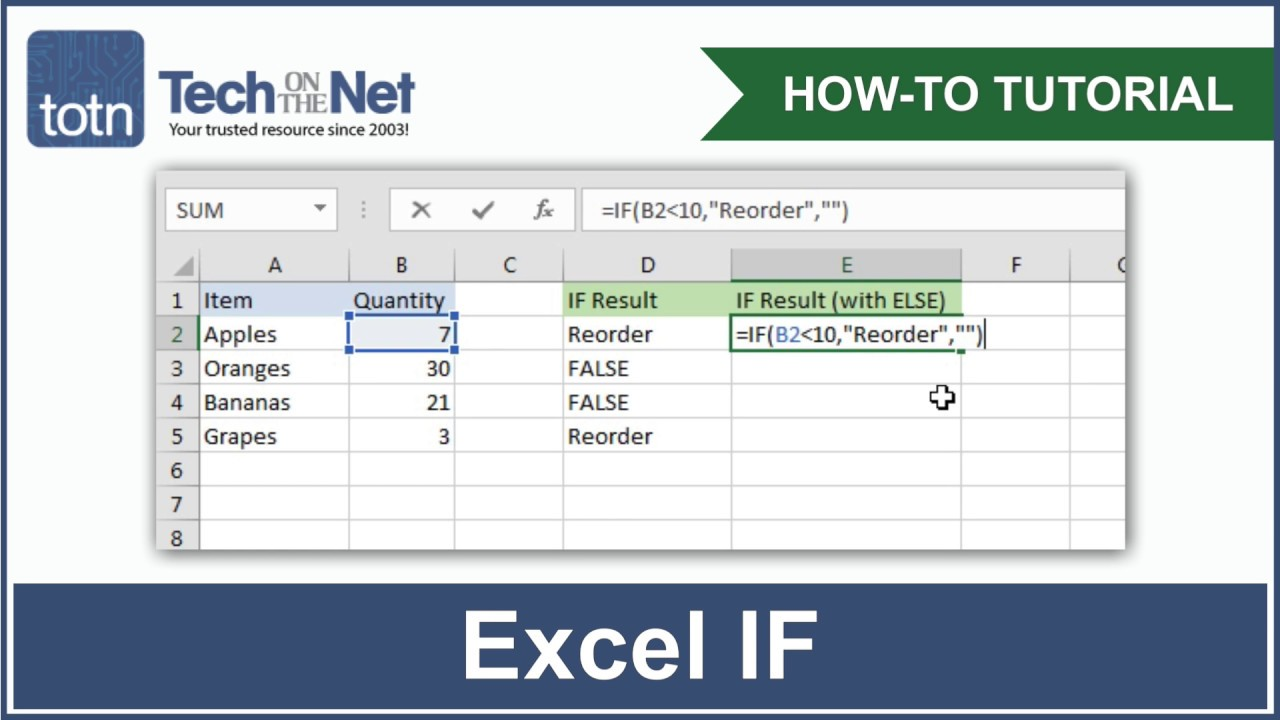 MS Excel: How to use the IF Function (WS)