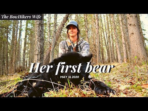 Public Land Alberta Bear Hunt She Shot Her First  Black Bear With Her Bow.