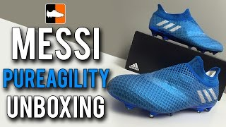 MESSI 16+ PureAgility Speed of Light Unboxing | adidas Blue Boots for Leo Messi