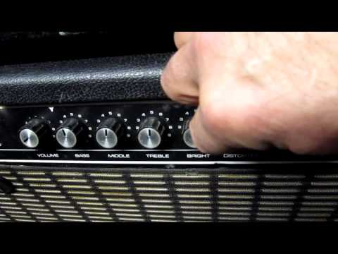 Distortion knob goes to 11 @ RAINBOW MUSIC OMAHA the doors - normal - reverb - tremolo