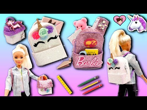 Barbie Doll Miniature School Supplies - Unicorn Backpack, Lunchbox , Pencil Case