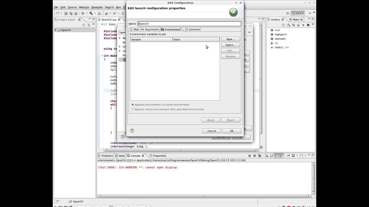Eclipse Gtk-WARNING **: cannot open display: Solution HOWTO