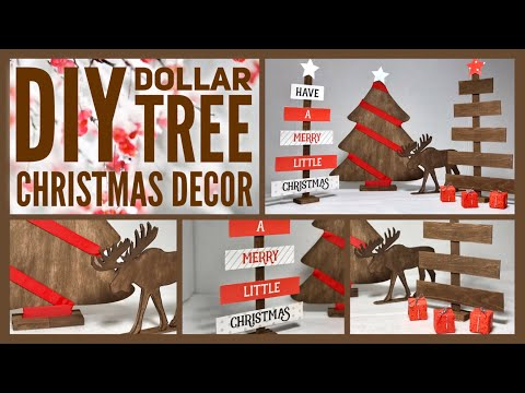 DIY Rustic Farmhouse / Woodland Christmas Decor Ideas 2019 - Dollar Tree Neutral Color Simple Crafts