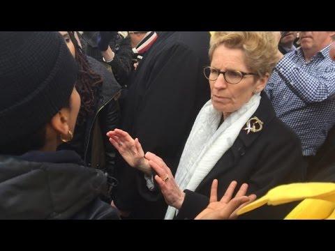 Kathleen Wynne adresses  Black Lives Matter protesters outside Queen's Park