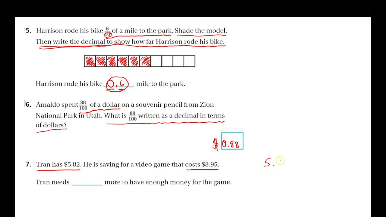 4th Grade Math Chapter 9 Test Review 5 7