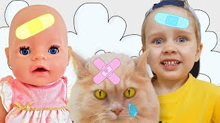 The Boo Boo Story from Baby doll Nastya and Julia