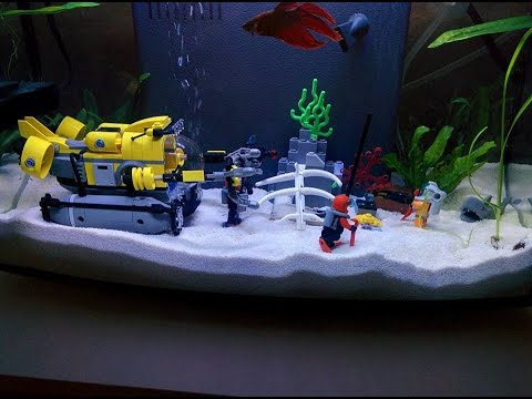 Betta fish tank with lego set decorations youtube for Star wars fish tank decorations