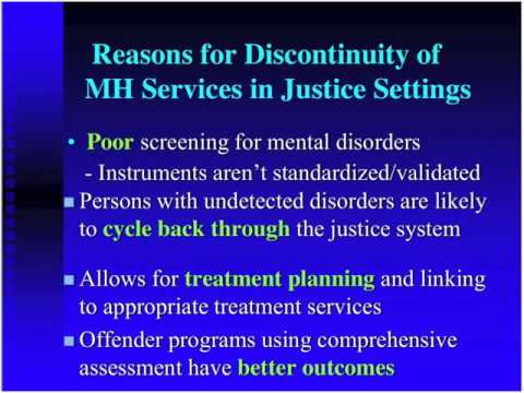 Screening and Assessment of Co-Occurring Disorders in the Criminal Justice System