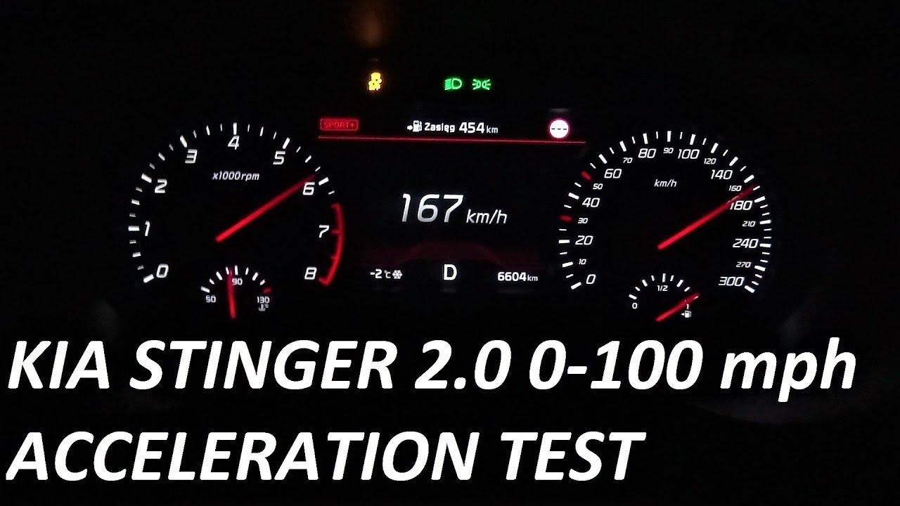 2018 KIA Stinger GT 2.0 (255hp) RWD Acceleration Test 0-100 mph 0-160 km/h