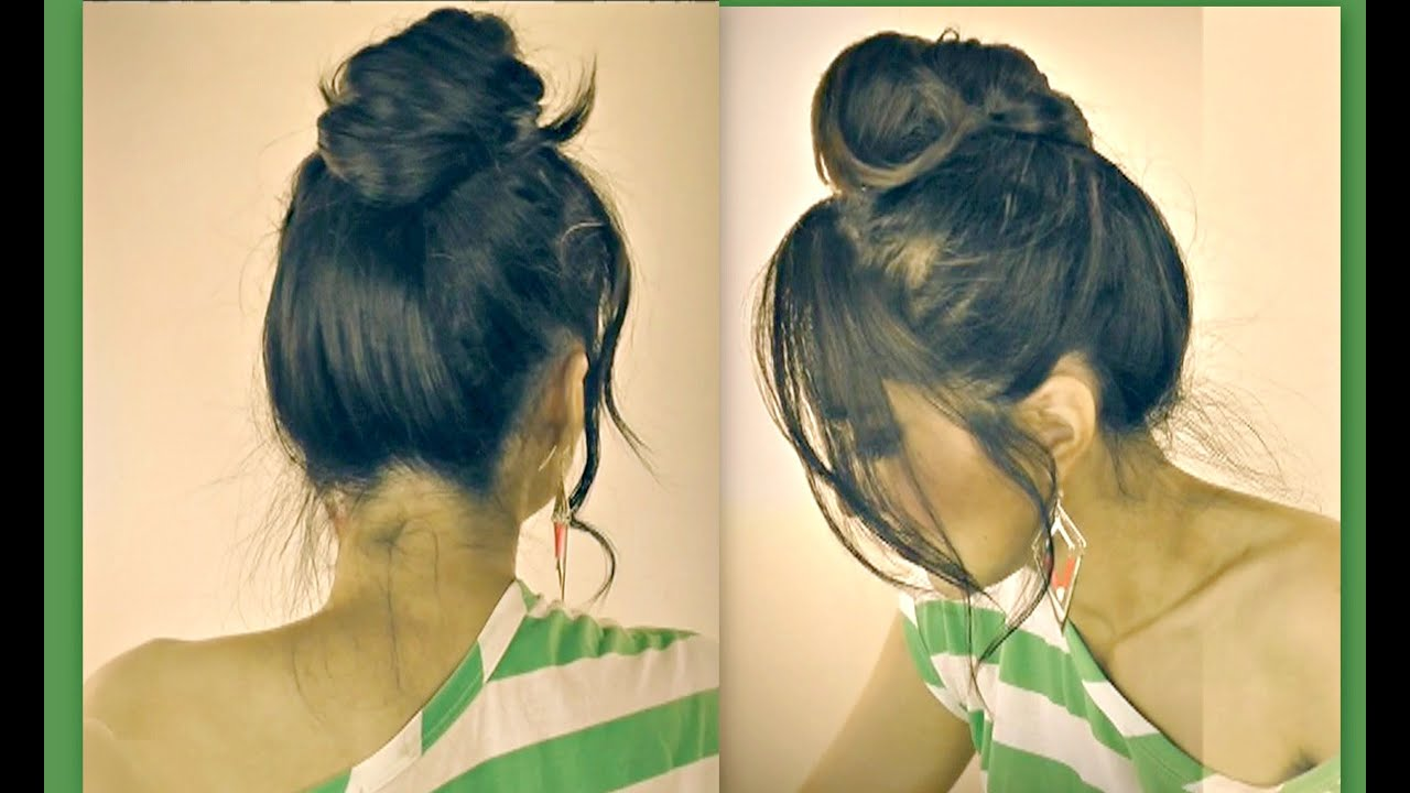 cute mustache messy bun hairstyles