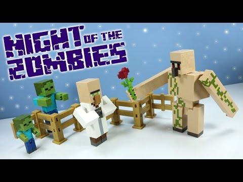 Thumbnail: Minecraft Survival Mode Night of the Zombies Toys Mattel with Iron Golem