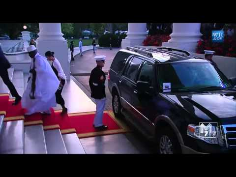 Gambia President Yahya Jammeh and spouse Zineb Yahya Jammeh  arrive at the White House Diner