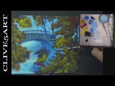 Bridge on a cold day painting with Acrylics