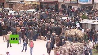 Manifestación a favor del gobierno sirio en Afrín