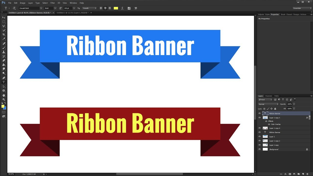 How To Make Ribbon Banner In Photoshop Tutorial Youtube